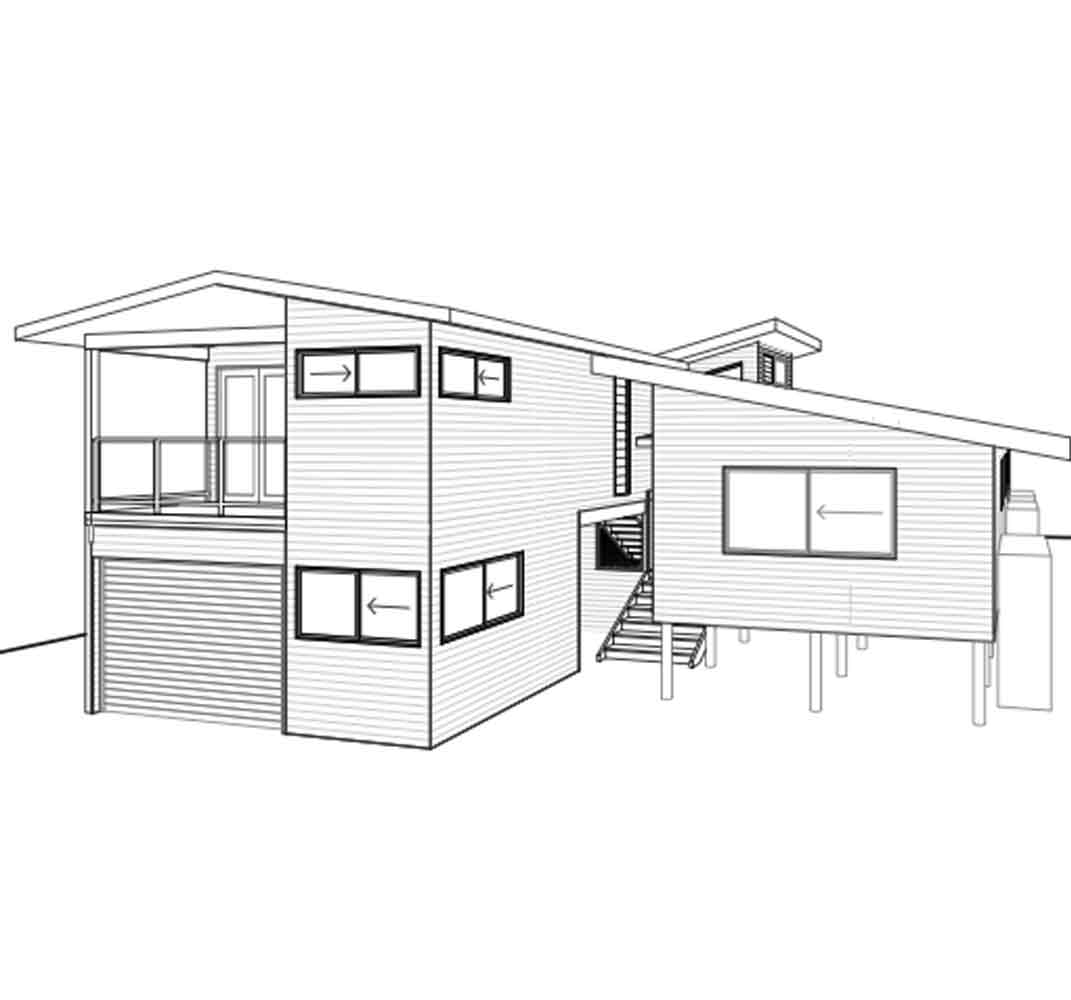 Sustainable building design portfolio rob acton barefoot for Beach house elevation designs