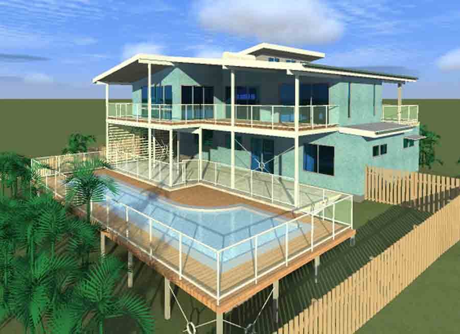 Ocean views home ocean shores barefoot building design for Ocean view house plans