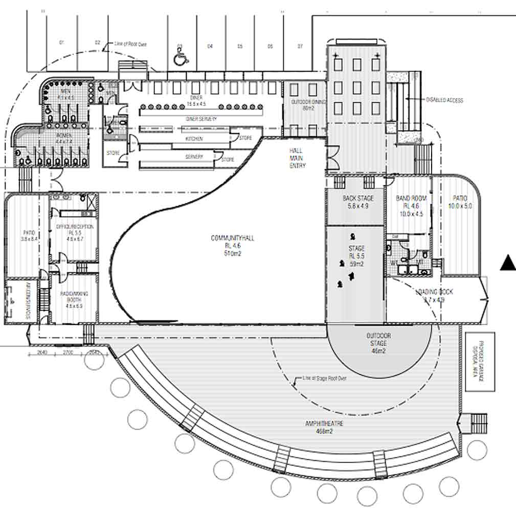 Music venue design barefoot building design Create a blueprint