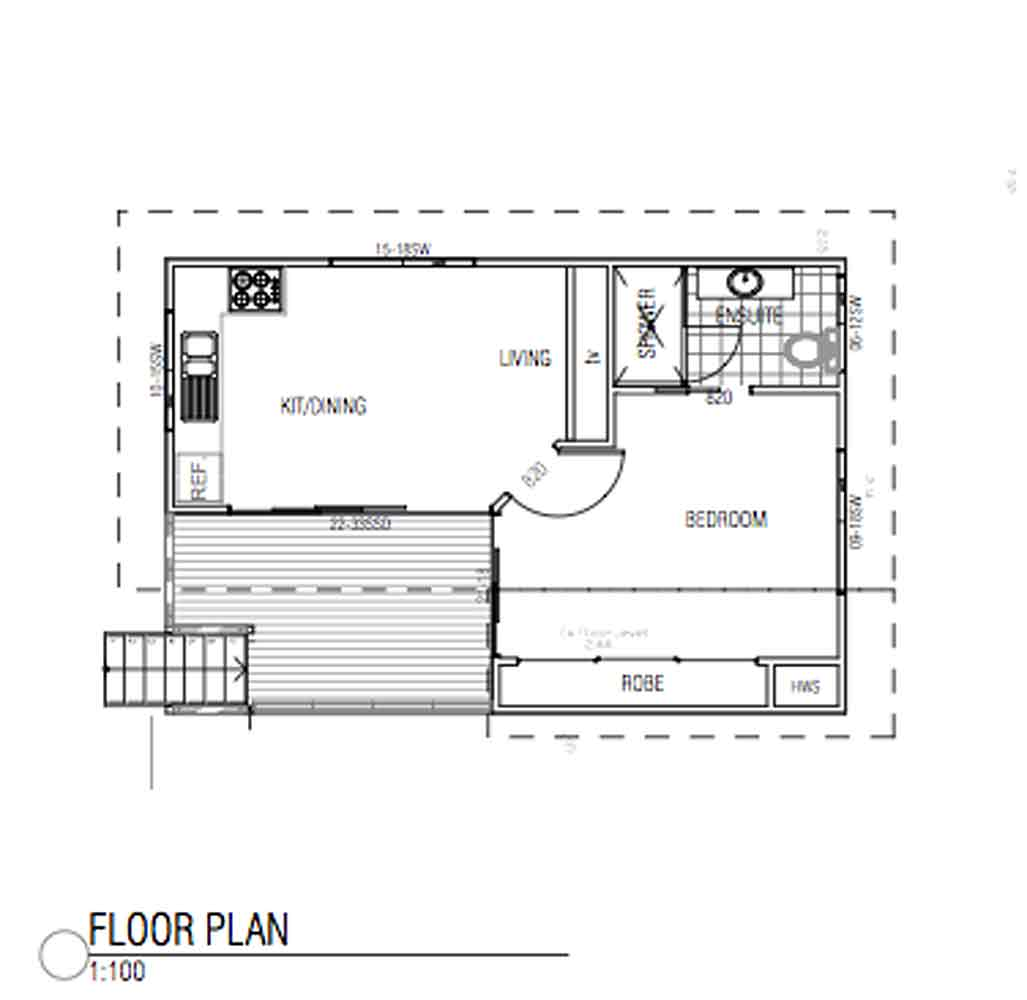 Granny flat designs barefoot building design for Granny flat floor plans 1 bedroom
